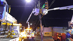 Traffic Signal Crew at Work Overnight performing emergency repair work