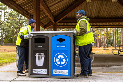 Recycling bins at Empie Park