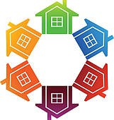A colorful hexagon of houses