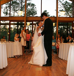Couple dancing at wedding at Halyblurton Park
