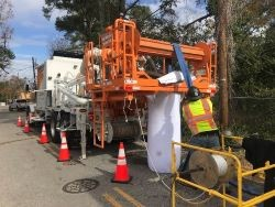 Crews perform hurricane repairs on Montgomery Ave